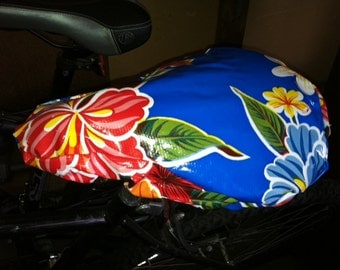 Cruiser Bike Seat Cover:  Laminated Cotton, Blue and Red