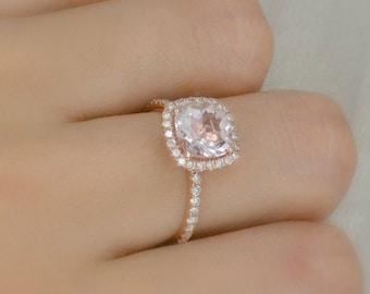 2.05 Ct. Cushion Cut Halo Morganite & Diamond Engagement Ring 14K Rose Gold