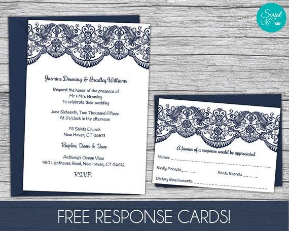 Lace Wedding Invitation Template FREE Response Card Template – Pages Invitation Templates Free