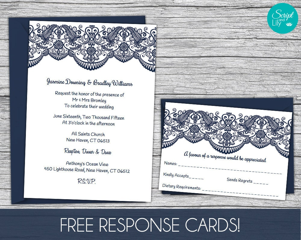 Edit Wedding Invitation Card: Lace Wedding Invitation Template FREE Response Card Template