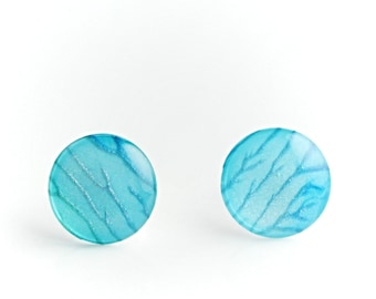 Limited edition hand painted pearlescent light blue earrings with sterling silver posts