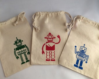 Robot Favor Bags: Muslin Bags With Robot Design, Robot Party Supplies