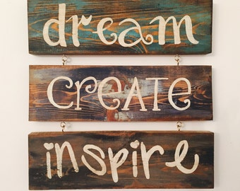 Barnwood, Dream Create Inspire Hand Painted Wood Wall Art Rustic Home Decor Cottage Chic 3 Piece wall art Signn quote sayins