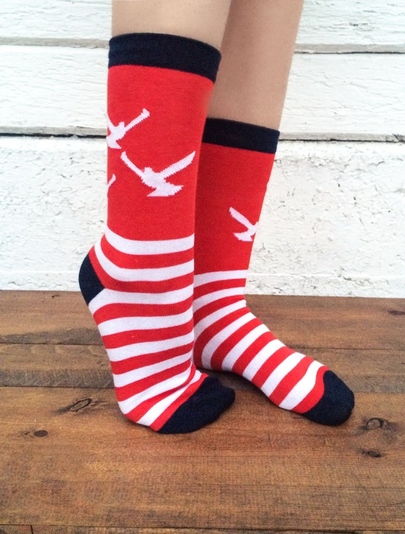 Cool Nautical Striped Socks - Fun, Casual or Dress Socks - Crazy Seagull Design