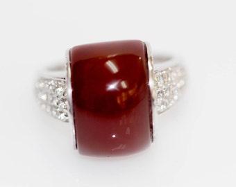 925 Red Agate / White Topaz Ring.