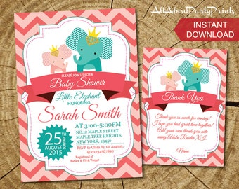 Instant Download -Elephant Baby Shower Invitation printable-FREE thank you card