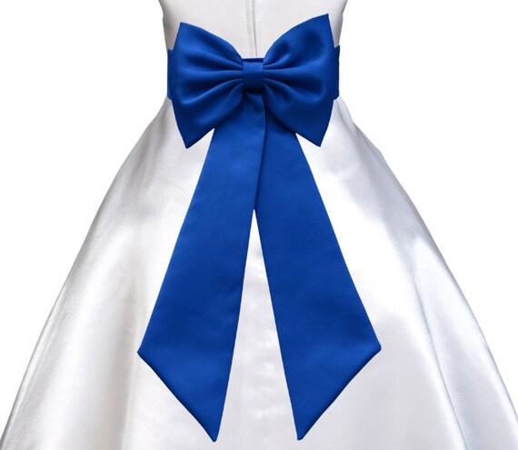 Bow sash royal blue for holiday christmas wedding flower girl dress