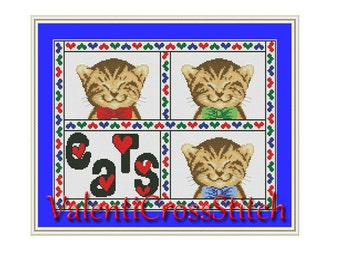 I love CAT Cross Stitch Pattern, Cats, I love, Counted cross stitch pattern, cross stitch chart