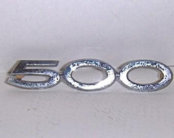 "VINTAGE ""500"" Chrome Trim, Automobile Script, Auto Logo for a 1962 Ford Galaxy, Car Emblem, Ford Logo, Ford Emblem Script"