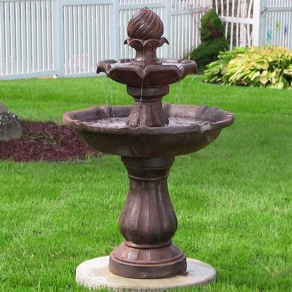 Outdoor 2 Tier Solar Water Fountain For Garden Yard By