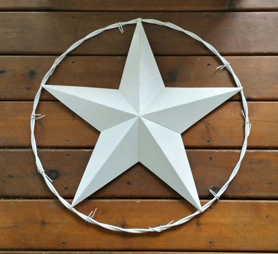 White Star Wall Decor : Metal star giant inch in barbed wire by brittsdiversestyle