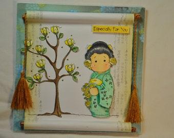 oriental card/magnolia tilda card OOAK 3D card/any occaision card
