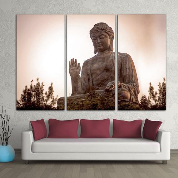 3 Panel Split Art World Map Canvas Print Triptych For: Giant Buddha Statue Triptych Canvas Print. Buddhism Religion