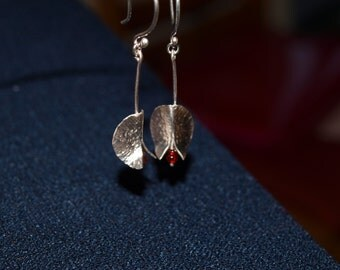 Sterling silver hand made medium Lily Pad Earrings, with coloured glass beeds