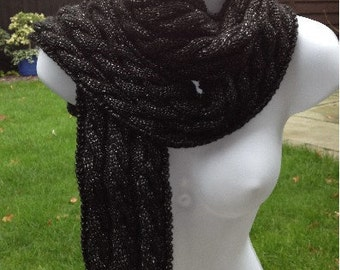 GetWoolly Scarf, long, black, metallic, cable knit, hand knitted