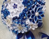 Bridal bouquet, handmade,color white / blue / royal blue
