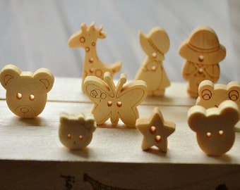 Animal Wooden buttons,  natural wood buttons , children buttons, Cute cartoon wooden buttons,children animal wooden buttons--20 pcs