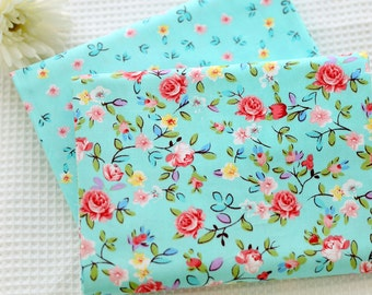 DIY VB cotton fabric  printed fabric flower fabrics blue fabric AB version-Cotton fabric, bedding fabric, bag fabric,curtain fabric-1/2 yard