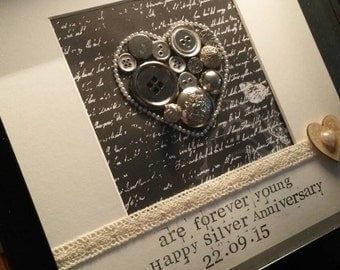 Framed Personalised Bespoke Silver Anniversary Gift 25 Years Wedding