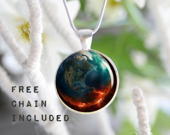 Abstract space Earth necklace. Romantic gift pendant. Free matching chain is included.