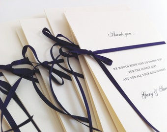 Bow Thank you Cards, Wedding Thank You Cards, Personalised Cards, Handmade Thank you