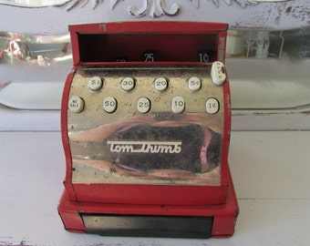 Vintage Tom Thumb Toy red cash register