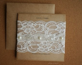 Vintage Lace and Pearl Wedding Invitation, Burlap Wedding Invitations, Rustic Wedding Invitations, Lace Wedding Invitation