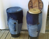 Cover of conga in recycled jeans & tube tire, Realization at request of cover of conga drums, djembe or other percussion