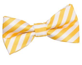 Thin Stripe White & Yellow Bow Tie