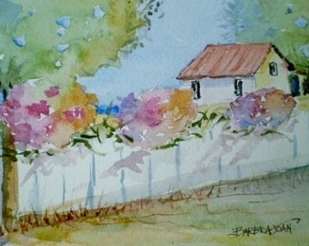 Country watercolor painting , picket fence, ORIGINAL watercolor, white mat included.