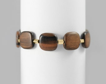 Vanessa Woman bracelet with tiger ebony wooden square