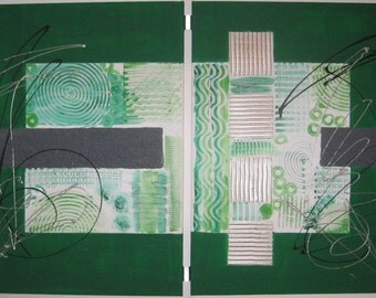 Structure mix green, canvas on stretcher 2