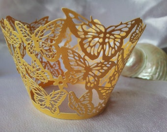 Gold Butterfly Lace Cupcake Wrappers - Set of 12 - Wedding, Engagement, Parties, Events
