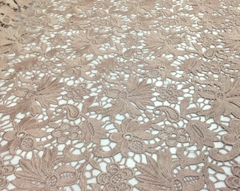 Brown Bell Flower Guipure French Venice lace