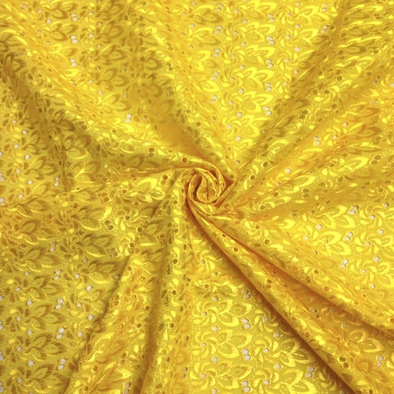 Yellow eyelet floral embroidery fabric