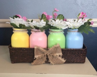 Pastel Glittered Spring/Easter Mason Jars (quart) in Basket