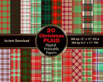 Plaid Christmas Digital Paper Background Printable Wrapping 20 Christmas Scrapbook Paper Red Green Tartan DOWNLOAD 12x12 JPG PDF