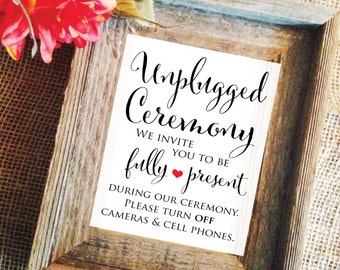 Unplugged Ceremony Sign unplugged Wedding Sign Wedding Ceremony Decorations white unplugged sign (Frame NOT included)