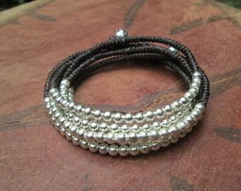 Silver Beaded Wrap Bracelet ,Silver Boho Bracelet,Silver 2 Wrap Bracelet,Silver Beads Necklace