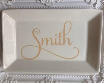 Personalized Rectangle Ring Dish - Trinket Dish - Key Dish - Jewelry Dish