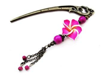 Japanese hair stick with pink and yellow polymer clay fimo flower, hairstick, hair pin, hair ornament - stick to choose - gift idea