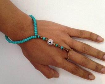 Evil eye stretch slave bracelet, beaded bracelet, stretch bracelet