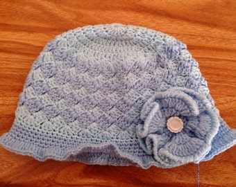 Baby Cloche Hat. Blue Crocheted Baby Hat 0-3 months