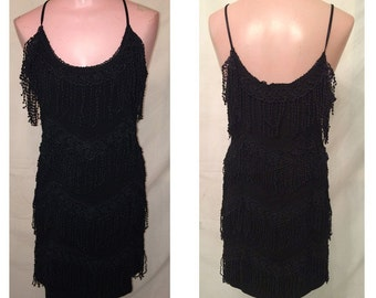 Short black fringe dress #60