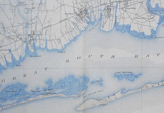 Antique Map Great South Bay Fire Island Oak Island - Us map 1908