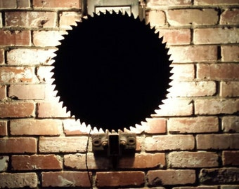 Unique Antique saw blade wall sconce -lamp, light, steampunk, found art, repurposed