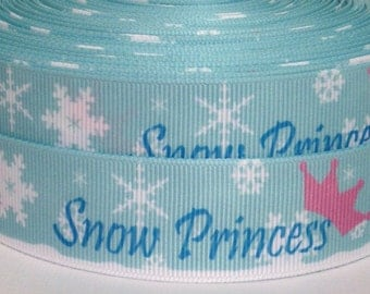 "SALE 3 yards 1"" Snow Princess Grosgrain Ribbon-Snow Princess Ribbon-3 yards Snow Princess Grosgrain Ribbon-1"" Snow Princess Grosgrain Ribbon"