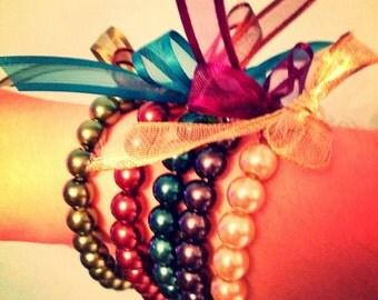 Glass Pearl Bracelet with Swarovski Crystal Detail and Ribbon