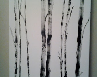 Painting of Black Bamboo Trees.