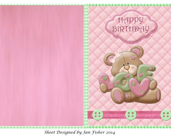 Pink Birthday bear card download